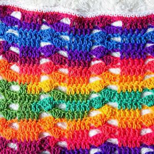 Rainbow Cluster Blanket PDF Crochet Pattern - Digital Download