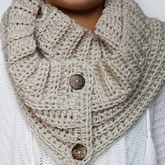 Andy Button Scarf PDF Crochet Pattern - Digital Download