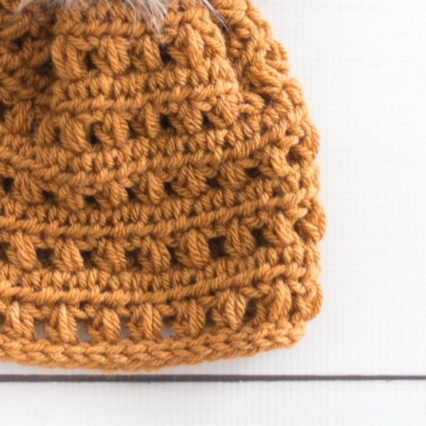 Puff Pom Beanie PDF Crochet Pattern - Digital Download