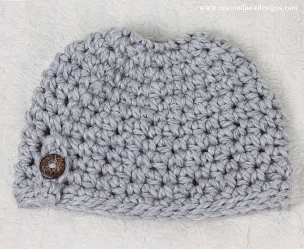 Messy Bun Beanie PDF Crochet Pattern - Digital Download