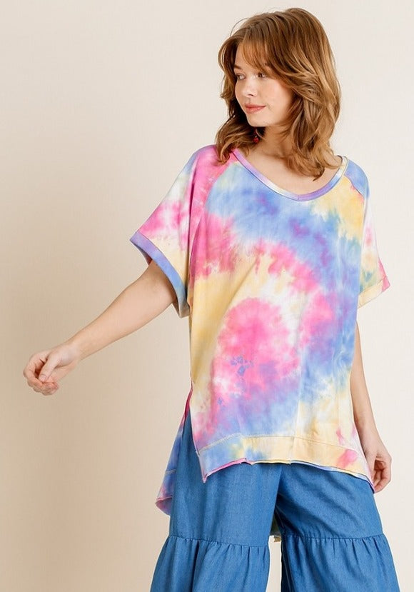 Pink/Blue Tiedye Top