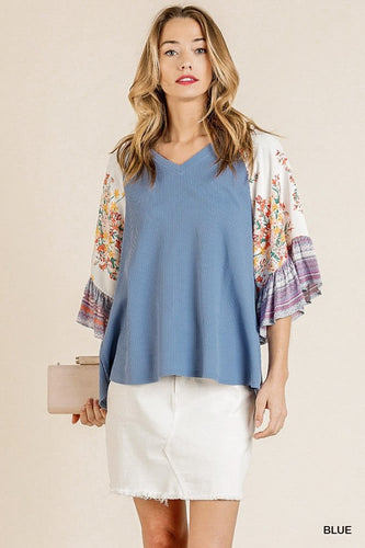 Mixed Print Bell Ruffle Sleeve Top