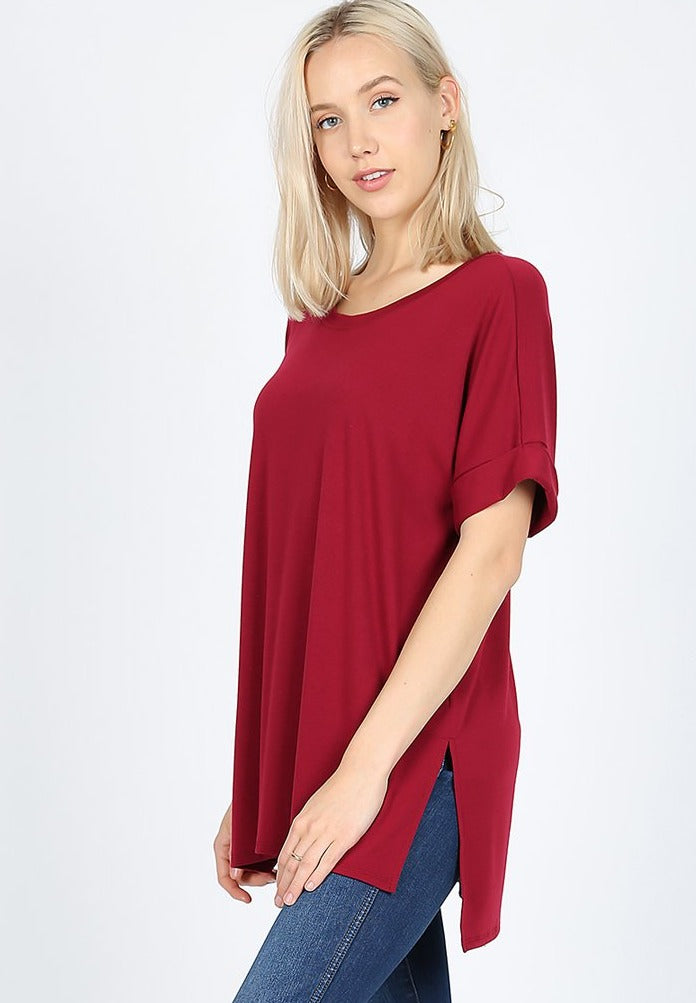 Round Neck High-Low Tee