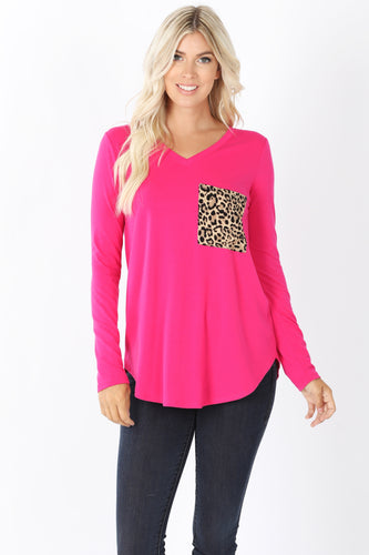 Leopard Pocket Long Sleeve Top