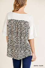 White + Taupe Leopard Top