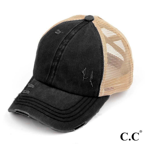 Distressed Criss Cross Pony Cap with Mesh Back