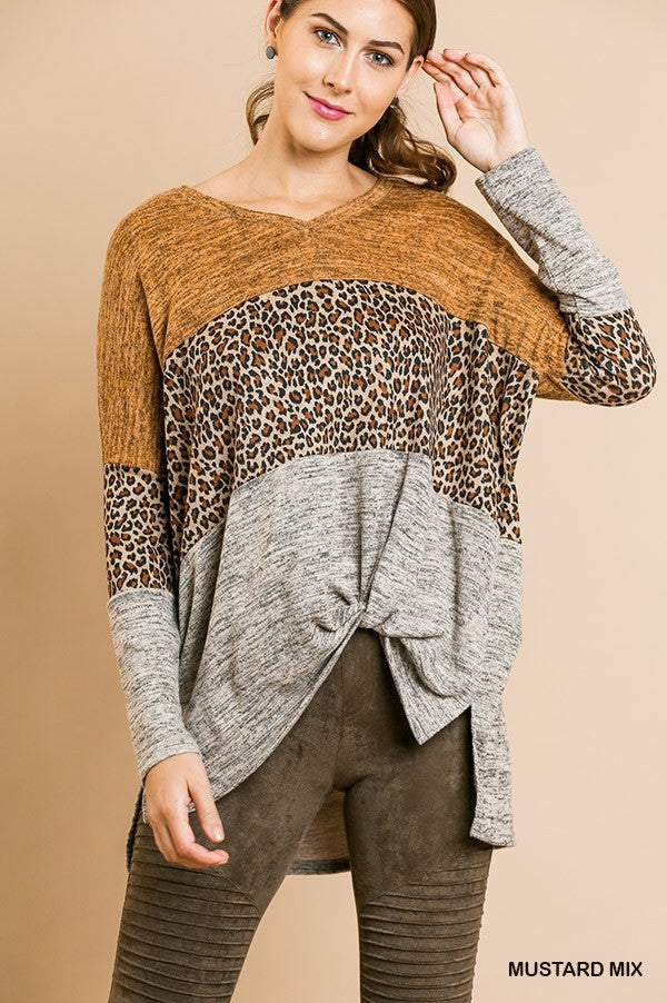 Colorblock Animal Print Top