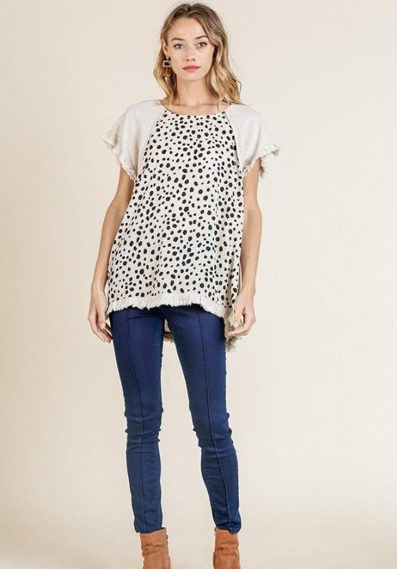 Oatmeal Dalmation Top