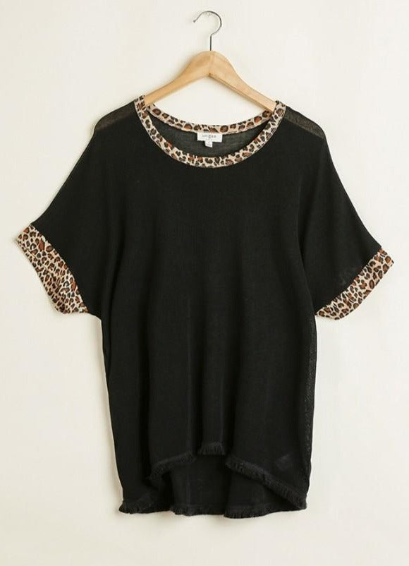 Black Fray Hem Top