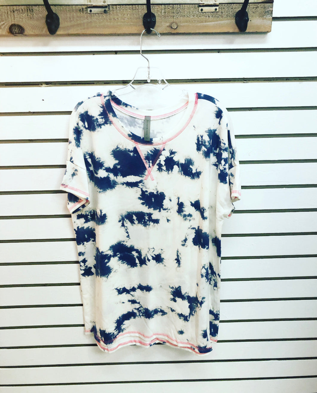 Navy Tiedye trimmed in Hot Pink