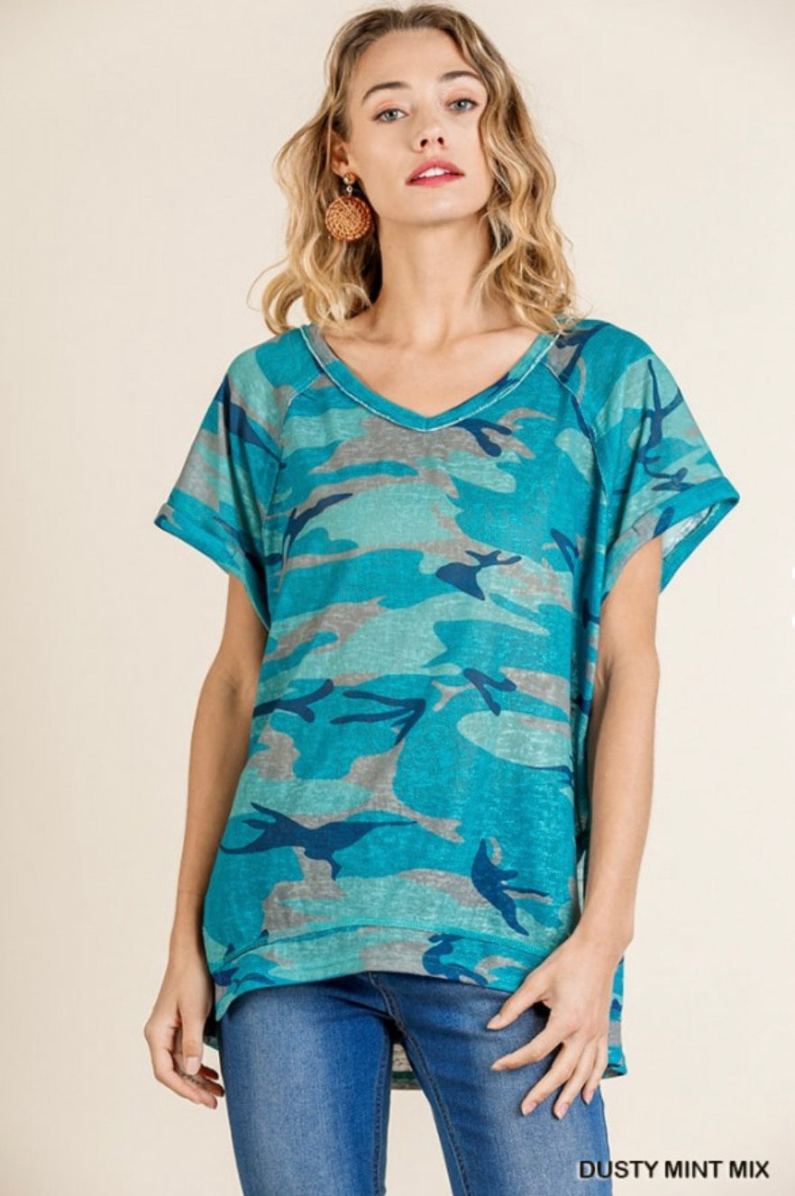 Dusty Mint Camo Top