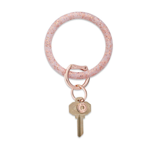 Rose Gold Confetti Silicone Keyring