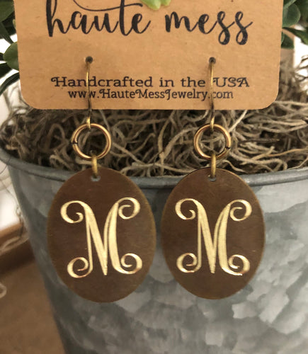 Bronze Oval Initial Earrings