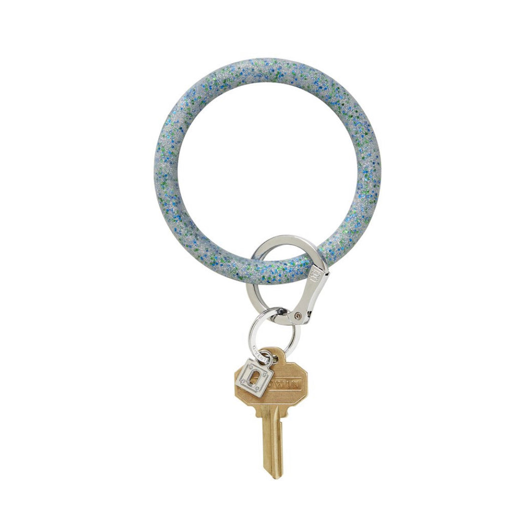Blue Frost Confetti Silicone Keyring