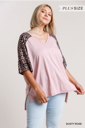 Vneck Animal Print Top