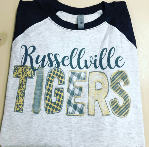 Vintage Style Russellville Tigers Doodle