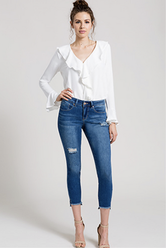 Midrise Fray Hi-Low Skinny Jeans