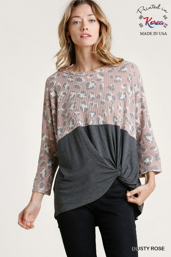 Waffle Knit Charcoal Mix Top