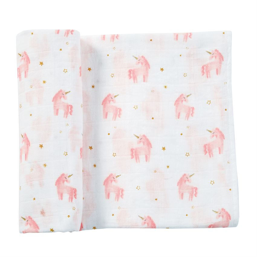 Muslin Unicorn Swaddle Blanket - Pink