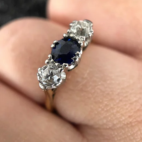 'Bea' Vintage 18ct Sapphire and Diamond Ring