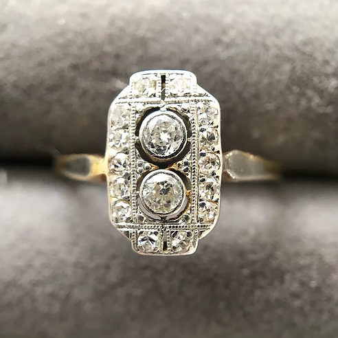 'Nye' Art Deco 18ct and Platinum Diamond Ring