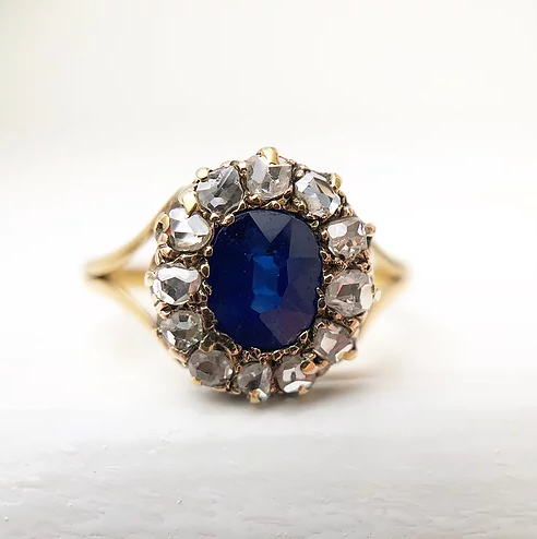 'Kate' 18ct Gold Sapphire and Diamond Vintage Ring