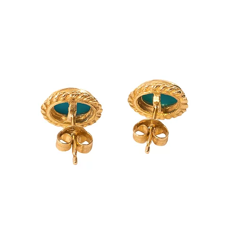 'Athena' 9ct Gold Turquoise Vintage Earrings
