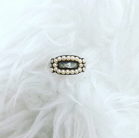 'Rose' Pearl Antique Mourning Ring