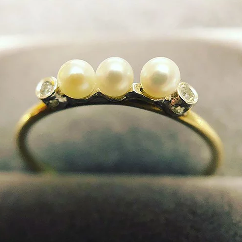 'Lyla' Pearl and Diamond Gold Vintage Ring
