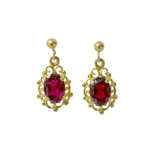 'Amelia' Vintage Garnet 9ct Gold Earrings