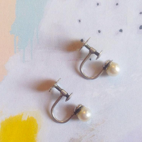 'Jane' 9ct White Gold Pearl Vintage Earrings