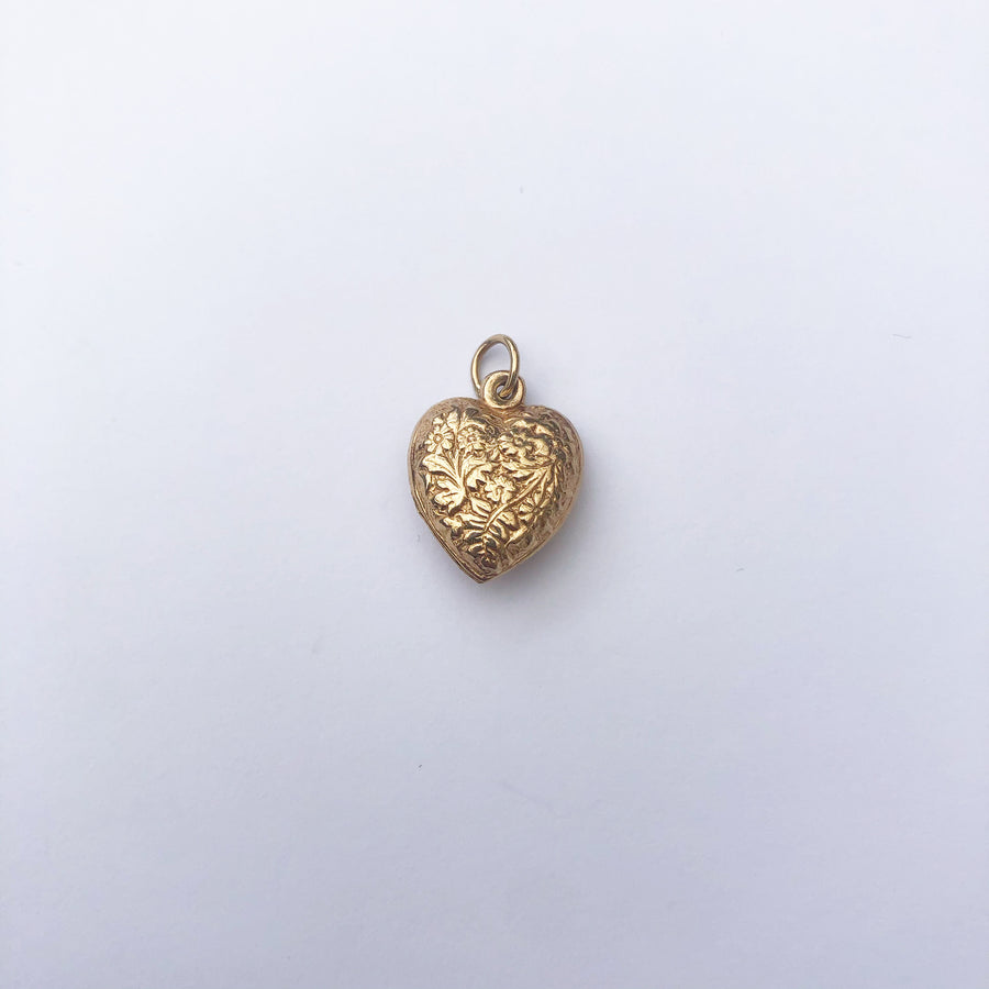 'Marnie' Vintage 9ct Floral Puff Heart