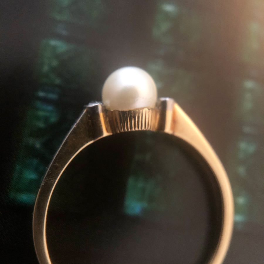 'Ethel' Vintage 9ct Pearl and Diamond Ring