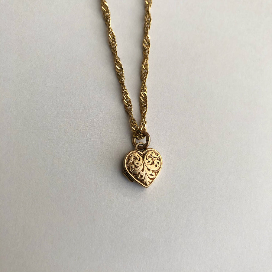 'Pearl' 9ct Vintage Gold Heart Locket Charm
