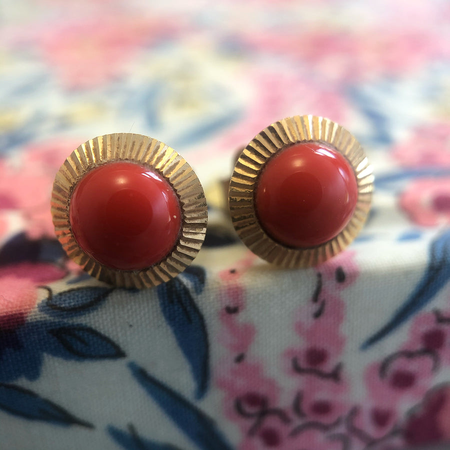 May Vintage Coral Earrings