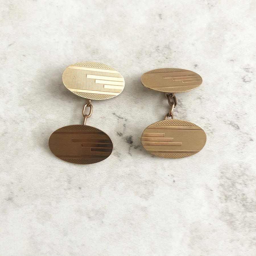 'Taylor' Solid 9ct Gold Vintage Oval Cufflinks