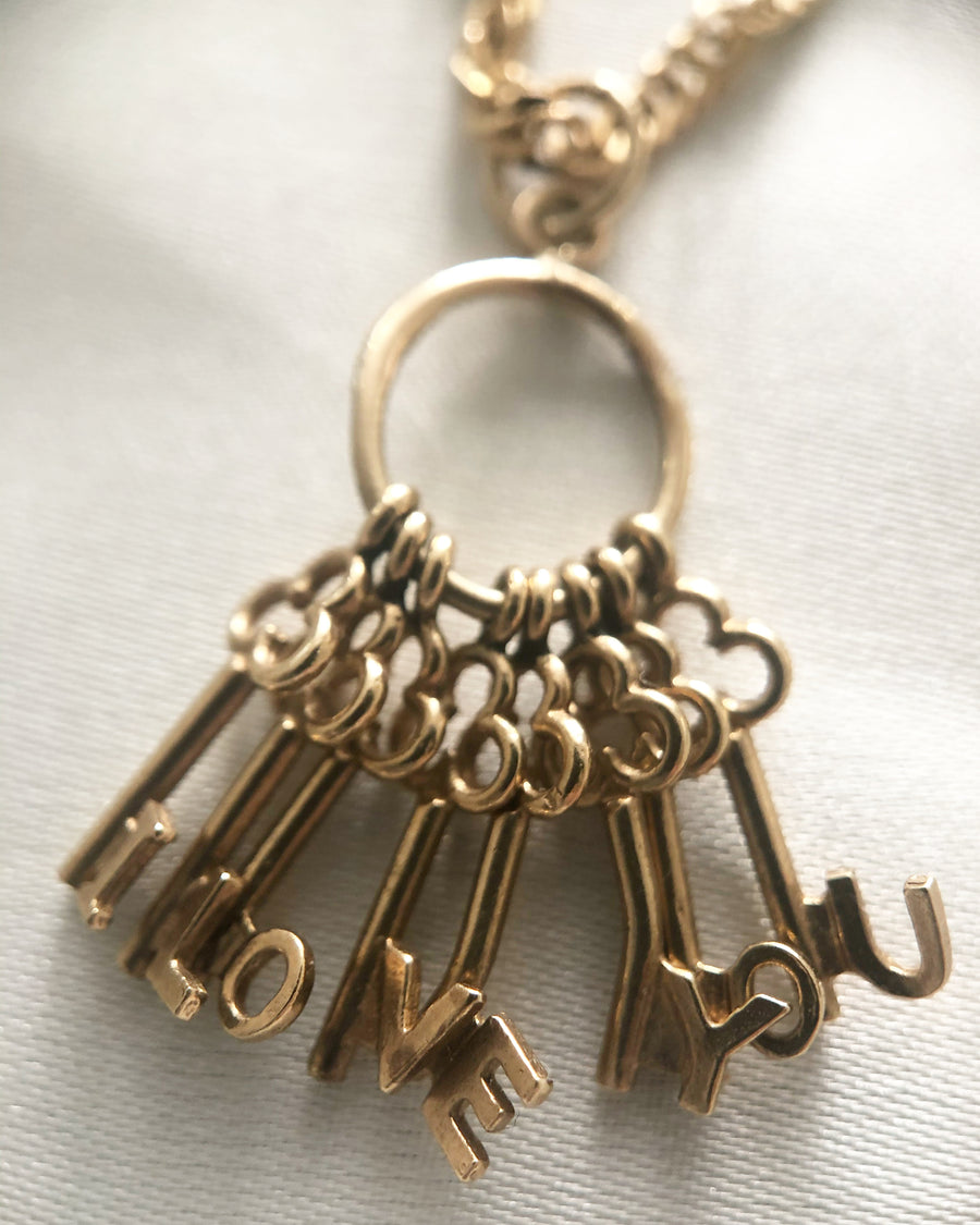 'Eight Three One' 9ct Vintage Gold I Love You Keys Charm