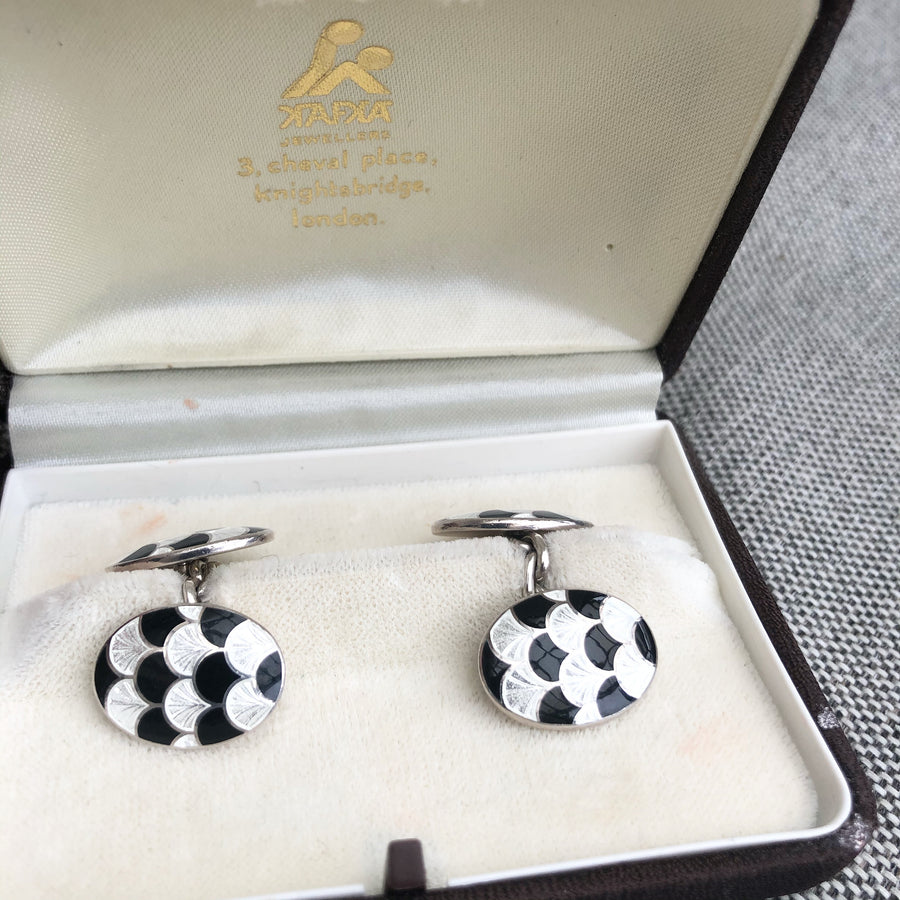 'Miles' Stirling Silver And Enamel Vintage Cufflinks