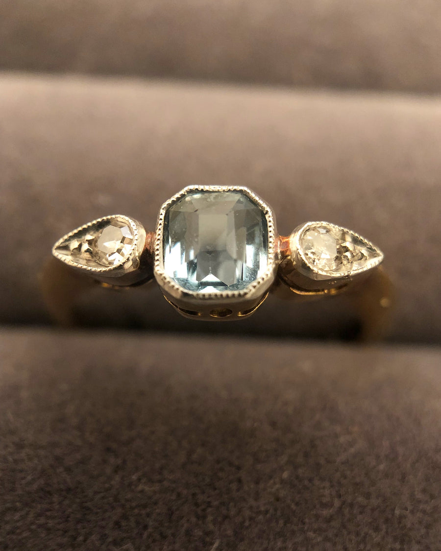 'Elise' 18ct Gold Aquamarine and Diamond Ring