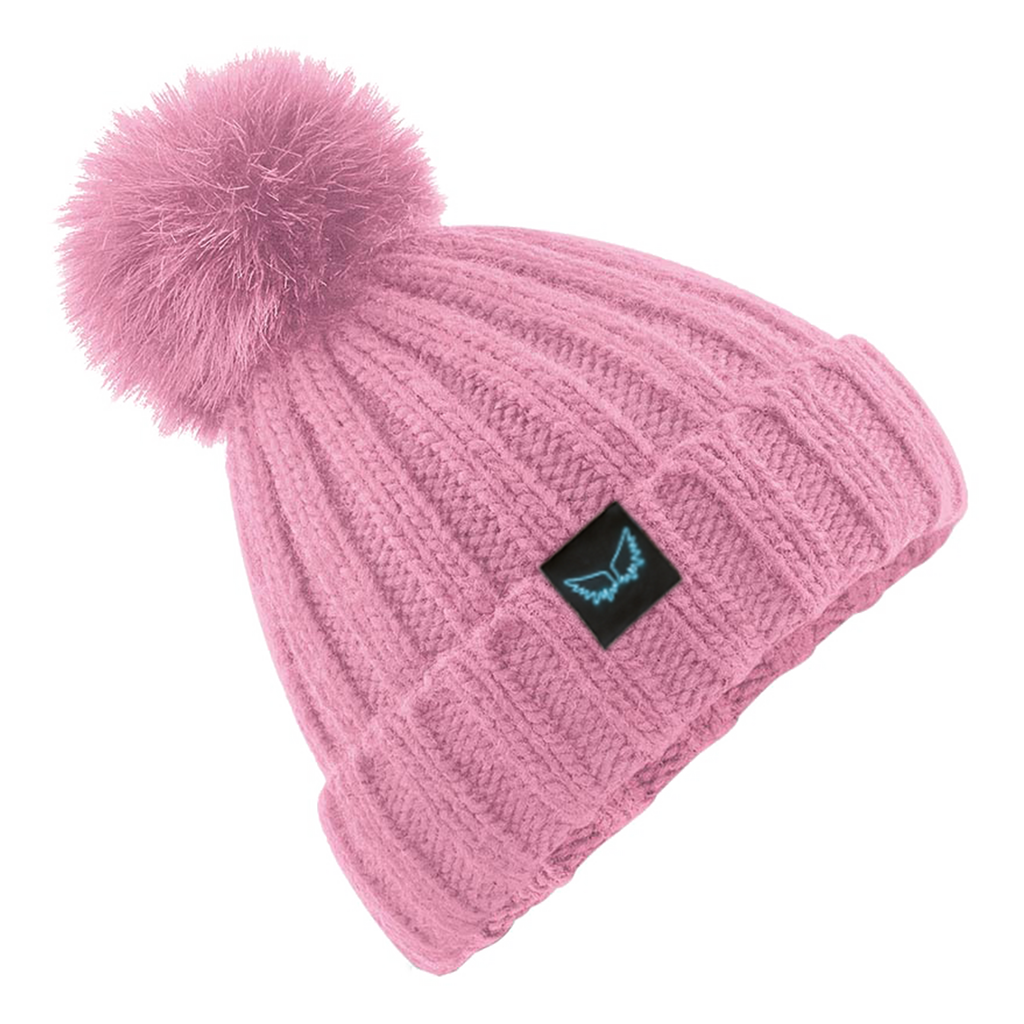 Angel Wings Pink Bobble Hat