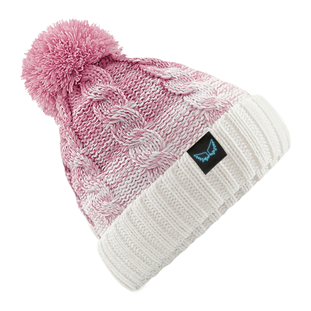 Angel Wings Pink Fade Bobble Hat