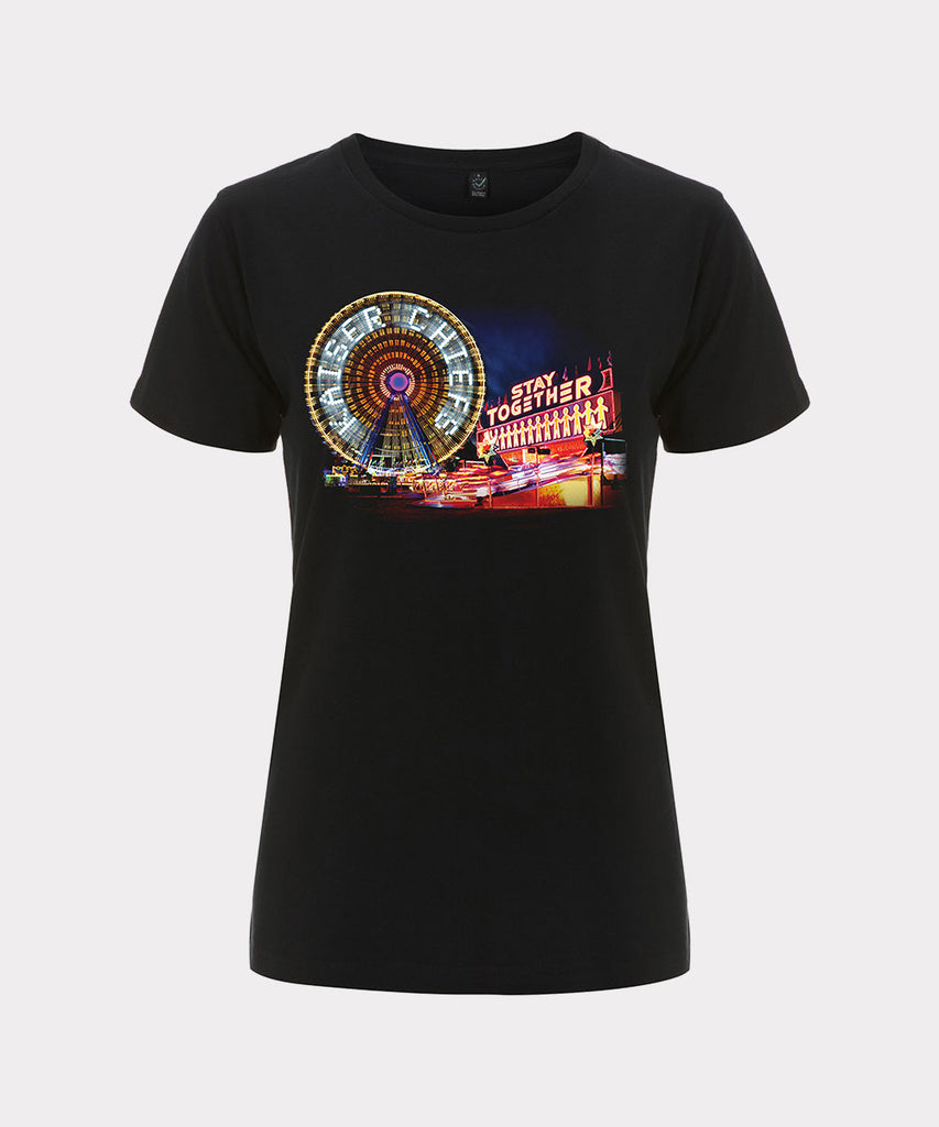 Fairground Scene Ladies Black T-Shirt