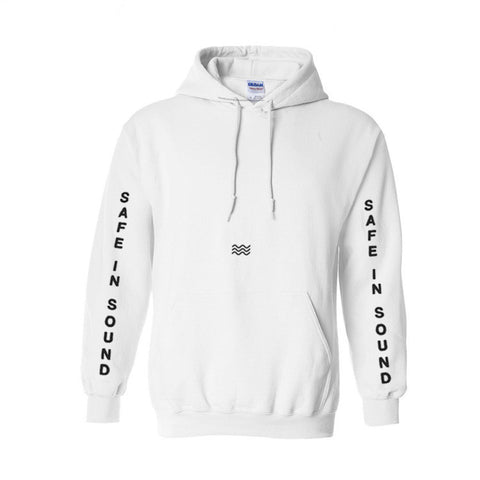 'Waves v2' White Pullover Hoodie