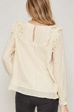Ruffle Trim Stripe Peasant Top
