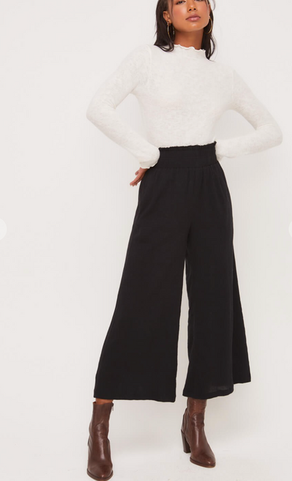 High Waist Shirred Pant