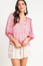 Pink Floral Puff Sleeve Blouse