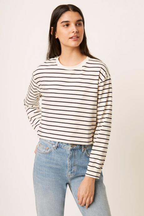 SALE Blue and Cream Stripe Top