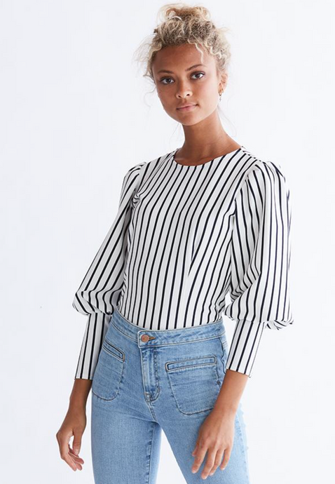 SALE Navy Stripe Blouse
