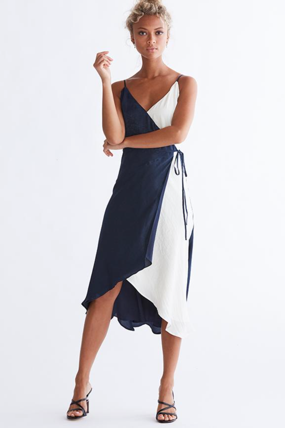 Ivory and Navy Wrap Dress