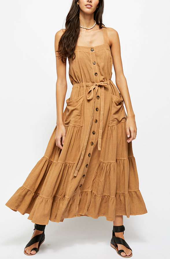 Button Tie Front Maxi Dress